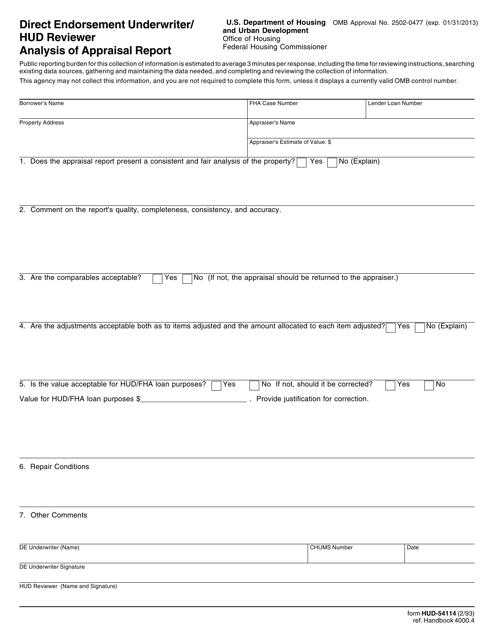 Form HUD-54114  Printable Pdf