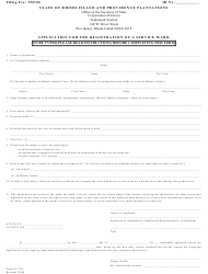 Form T-81 Application for the Registration of a Service Mark - Rhode Island