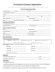 """Provisional Camper Application Form - Middle Tennessee Council - Boy Scouts of America"" - Tennessee"