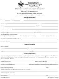 """Campership Application Form - Kia Kima Scout Reservation & District Day Camps - Boy Scouts of America"" - Arkansas"