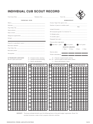 """""""Individual Cub Scout Record Form - Boy Scouts of America"""""""
