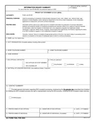 DA Form 7509 Information Inquiry Summary