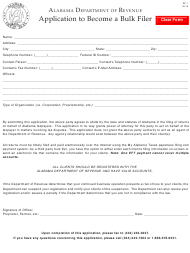 "Form BF-1 ""Application to Become a Bulk Filer"" - Alabama"