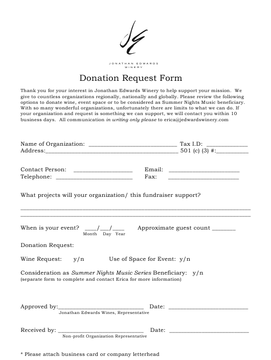"""Donation Request Form - Jonathan Edwards Winery"" Download Pdf"