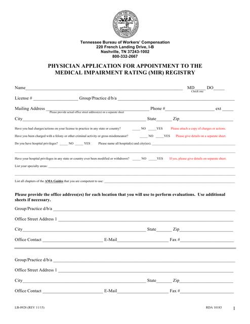 Form LB-0928  Printable Pdf