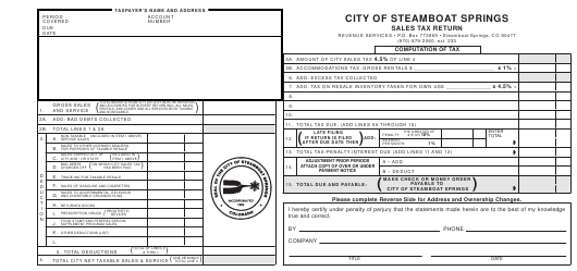 """Sales Tax Return Form"" - City of Steamboat Springs, Colorado Download Pdf"