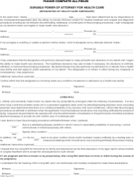 Durable Power of Attorney Form for Health Care (Designation of Health Care Surrogate)