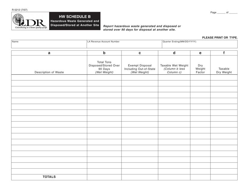 Form R-5212 Schedule B  Printable Pdf