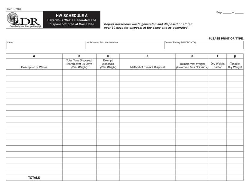 Form R-5211 Schedule A  Printable Pdf