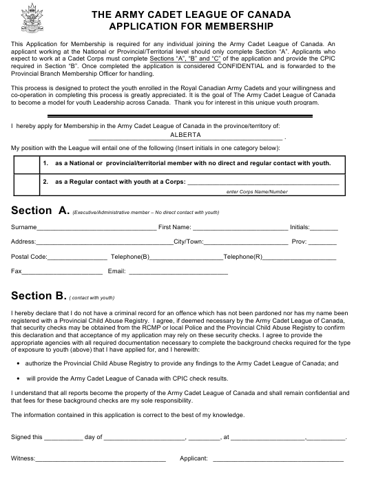 """""""Application for Membership - the Army Cadet League of Canada"""" - Canada Download Pdf"""