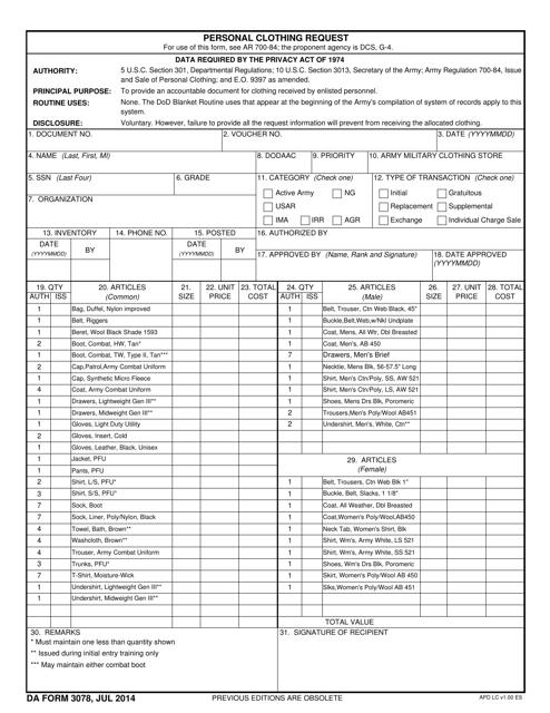 DA Form 3078  Printable Pdf