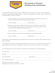 "Form 512-028 ""Whittling Chip Certification - Boy Scouts of America"""