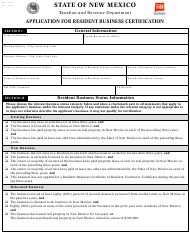 "Form ASD-22238 ""Application for Resident Business Certification"" - New Mexico"