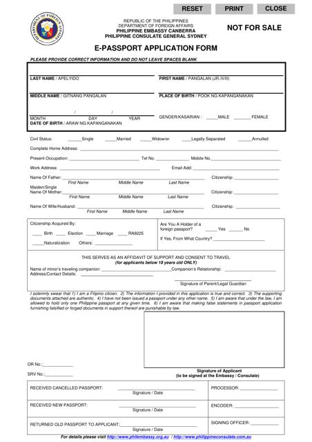 Philippine E-Passport Application Form (English/Tagalog