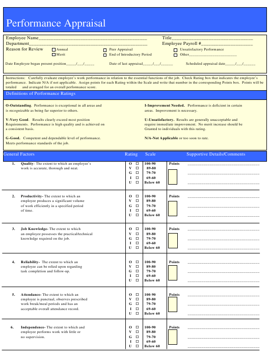"""Performance Appraisal Form"" Download Pdf"