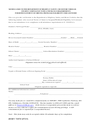 Form HSMV 72870 Student Compliance With Attendance Requirements for Reinstatement of Driving Privilege/Eligibility for Licensure - Florida