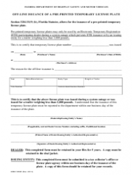 Form HSMV 82082 Off-Line Issuance of a Pre-printed Temporary License Plate - Florida