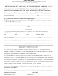 Form HSMV 83033 Notification of Transfer of Registration License Plate - Florida