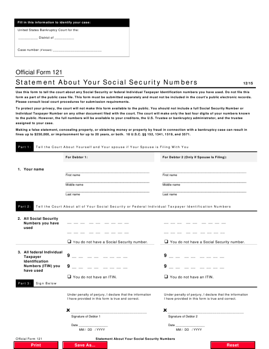 Official Form 121  Printable Pdf
