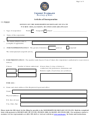 "Form 11 ""Articles of Incorporation"" - Mississippi"