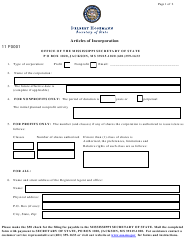 Form 11 Articles of Incorporation - Mississippi