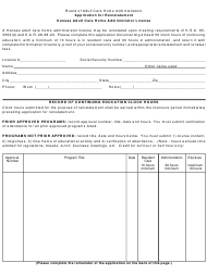 """Application for Reinstatement - Kansas Adult Care Home Administrator License"" - Kansas"