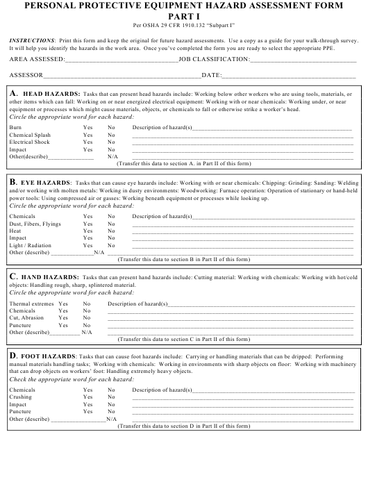 """Personal Protective Equipment Hazard Assessment Form - Nc State University"" Download Pdf"