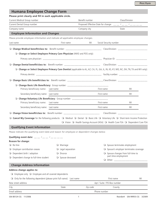 Form GN-80124-CG Download Fillable PDF, Employee Change Form