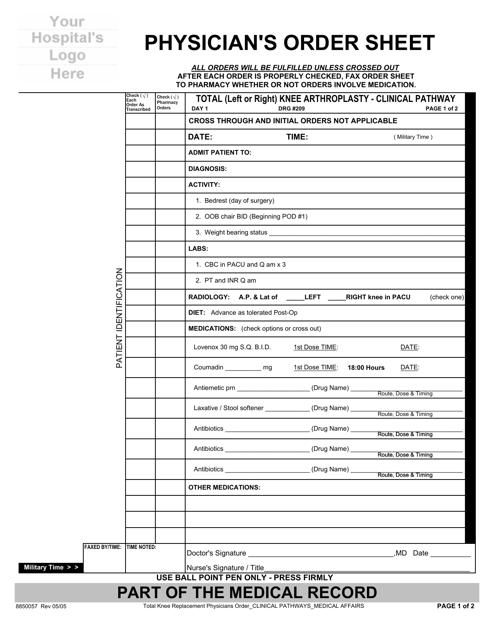 """Physician's Order Sheet"" Download Pdf"