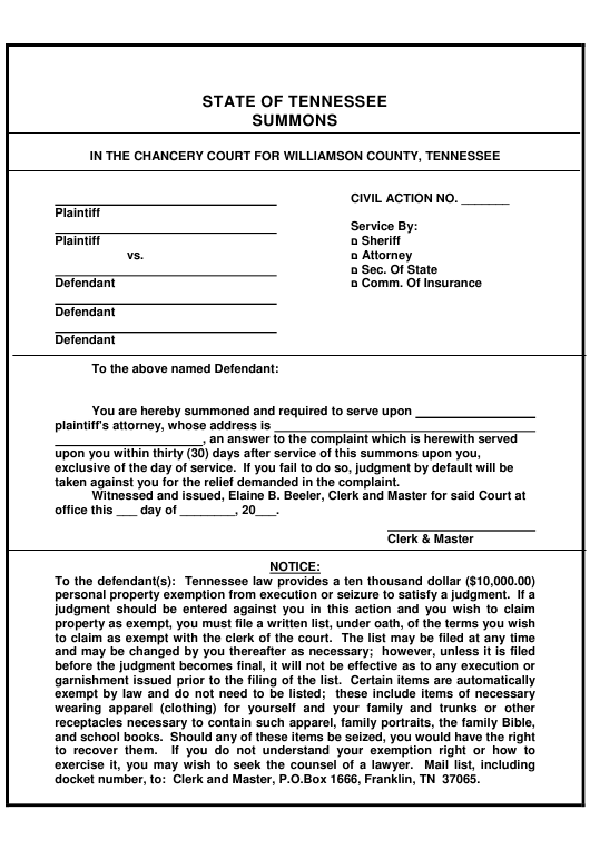 """Summons Form"" - Tennessee Download Pdf"