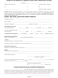 """Affidavit of Indigency - Request for Court Appointed Counsel Form"" - Texas"