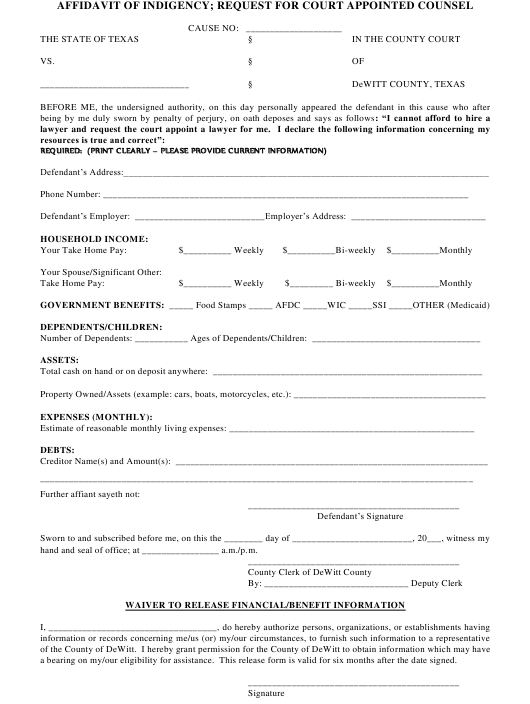 """""""Affidavit of Indigency - Request for Court Appointed Counsel Form"""" - Texas Download Pdf"""