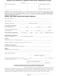 Affidavit of Indigency - Request for Court Appointed Counsel Form - Texas