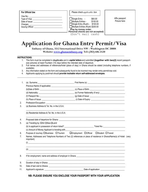 """Application for Ghana Entry Permit/Visa"" - Washington, D.C. Download Pdf"