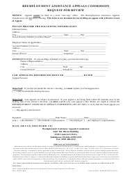 "DEOI Form A100 RAAC(E) ""Reemployment Assistance Appeals Commission Request for Review"" - Florida"