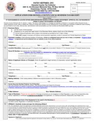 """Application for Osceola County Local Business Tax Receipt Form"" - Osceola County, Florida"