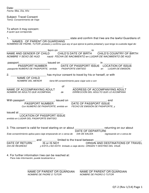 """Travel Consent Form"" (English/Spanish) Download Pdf"