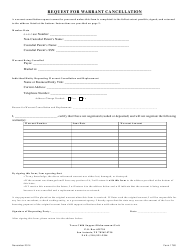 """Form 1760 """"Request for Warrant Cancellation"""" - Texas"""