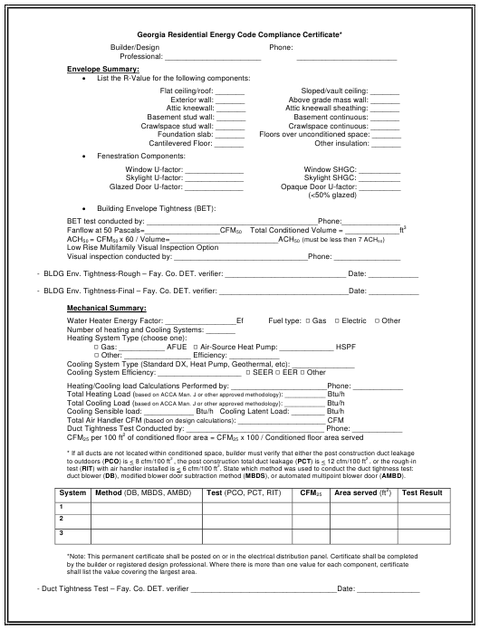 Georgia United States Residential Energy Code Compliance