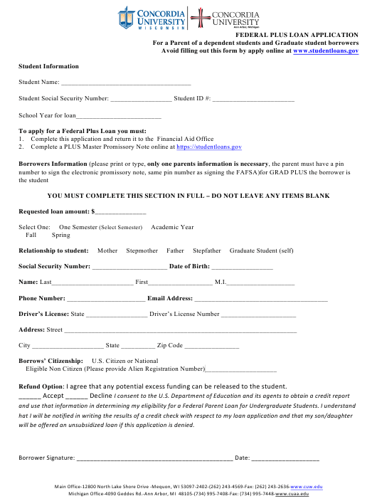 """""""Federal Plus Loan Application Form for a Parent of a Dependent Students and Graduate Student Borrowers - Concordia University"""" Download Pdf"""