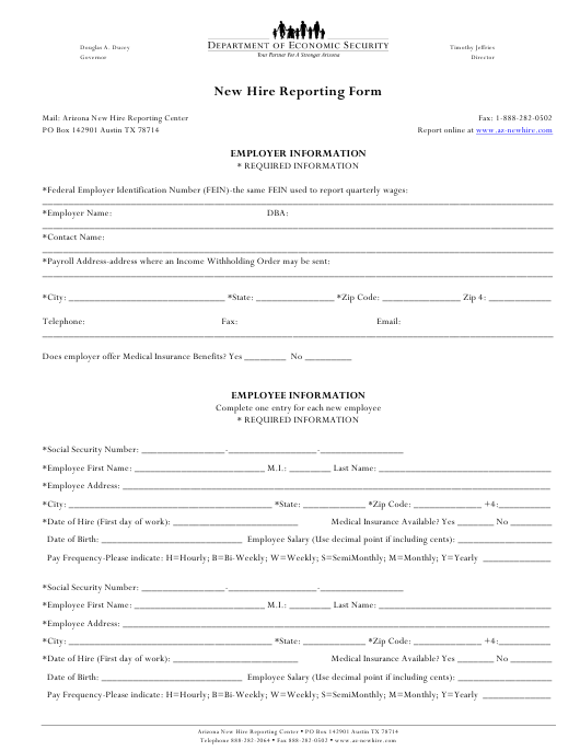 new hire reporting form download printable pdf templateroller