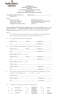"""Application for Ownership Registration of Radiation Equipment"" - Newfoundland and Labrador, Canada"