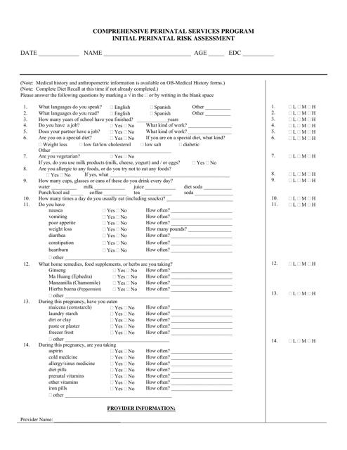 """""""Initial Perinatal Risk Assessment Form - Comprehensive Perinatal Services Program"""" - California Download Pdf"""