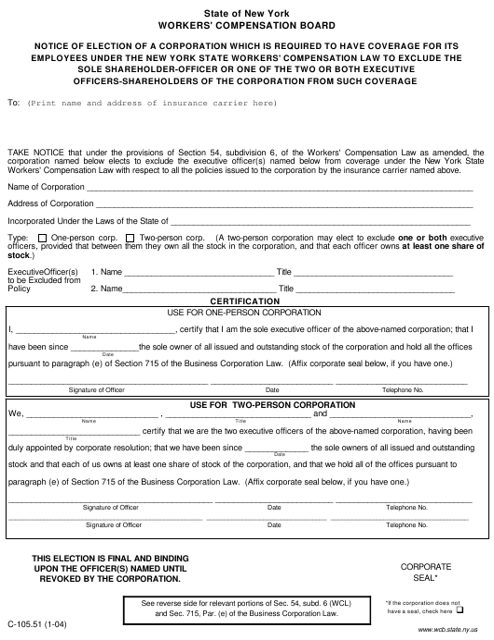 Form C-105.51  Fillable Pdf