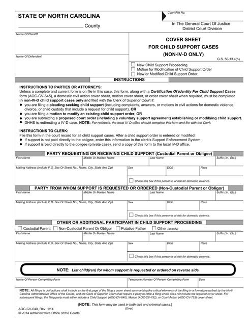 Form AOC-CV-640  Printable Pdf