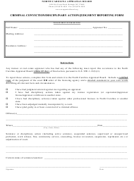 """Criminal Conviction/Disciplinary Action/Judgment Reporting Form"" - North Carolina"