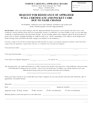 """Request for Reissuance of Appraiser Wall Certificate and Pocket Card Due to Name Change"" - North Carolina"
