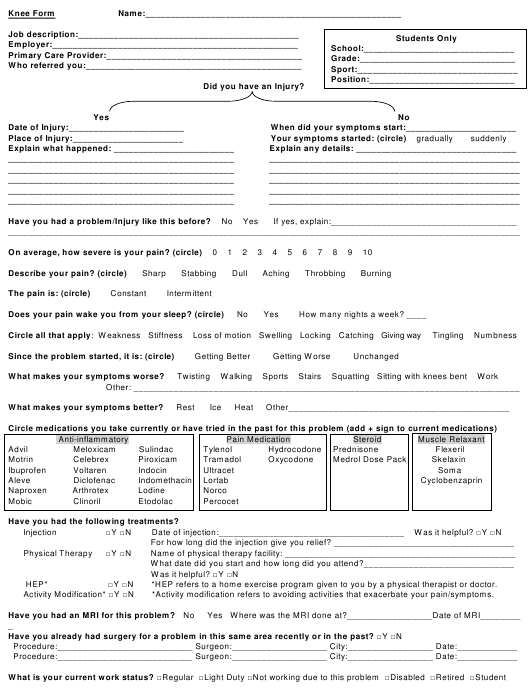 """Patient Intake Form - Knee Injury"" Download Pdf"