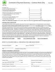 "Form 39-1 ""Contractor's Payment Summary - Contract Work Only"" - New York City"