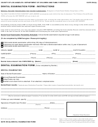 Form DCFS 561(B) Dental Examination Form - County of Los Angeles, California